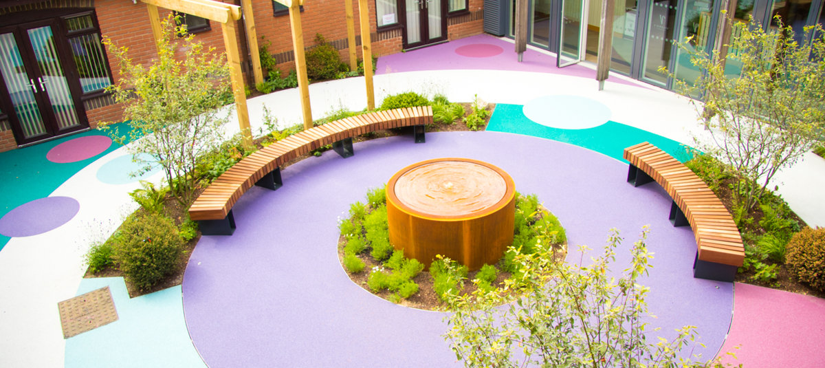 Now the Courtyard Garden is a bright, bold and relaxing space for patients at Keech Hospice Care and their families to enjoy.